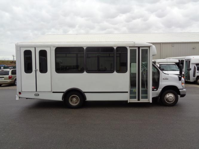 2017 World Trans Ford 12 Passenger and 2 Wheelchair Shuttle Bus Driver side exterior front angle-U10219-2