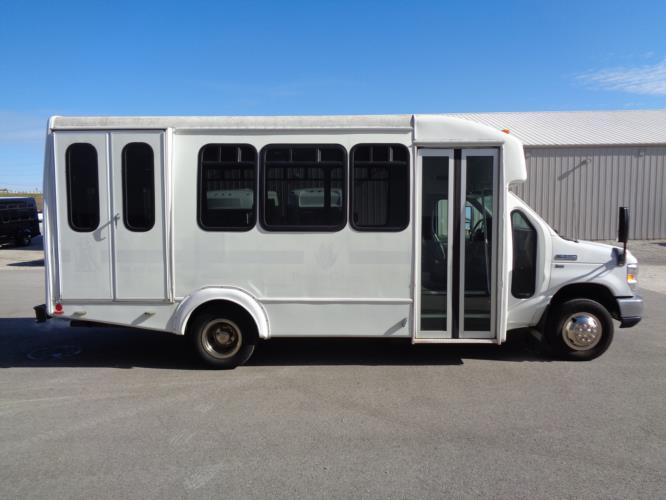 2013 Goshen Coach Ford 12 Passenger and 2 Wheelchair Shuttle Bus Driver side exterior front angle-U10222-2