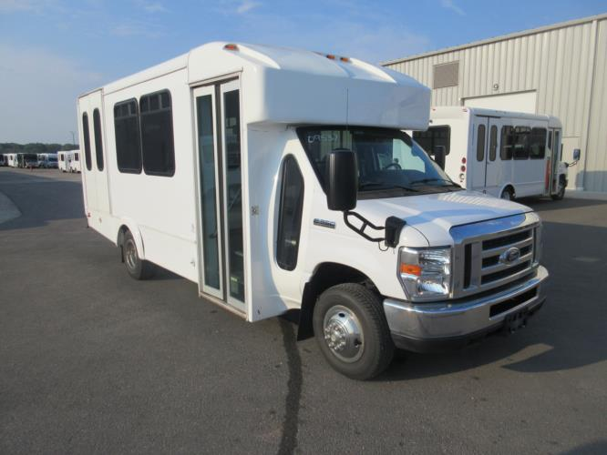 2017 Goshen Coach Ford 8 Passenger and 4 Wheelchair Shuttle Bus Passenger side exterior front angle-U10224-1