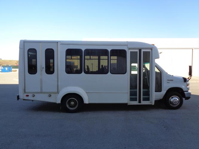 2016 Elkhart Coach Ford 12 Passenger and 2 Wheelchair Shuttle Bus Driver side exterior front angle-U10232-2