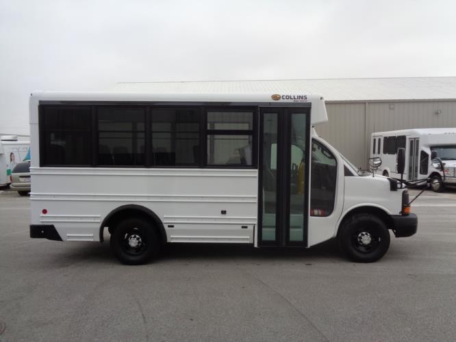 2016 Collins Chevrolet 14 Passenger Child Care Bus Driver side exterior front angle-U10254-2