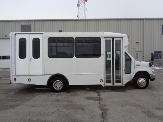 2016 Champion Ford E350 8 Passenger and 4 Wheelchair Shuttle Bus Driver side exterior front angle-U10316-2