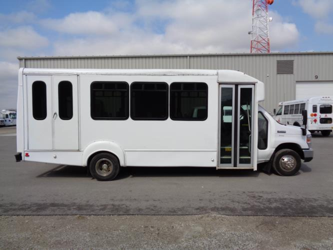 2014 Goshen Coach Ford 16 Passenger and 2 Wheelchair Shuttle Bus Driver side exterior front angle-U10352-2