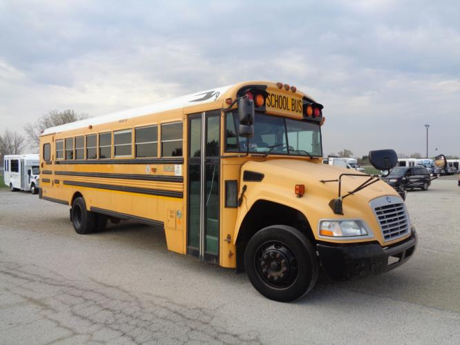 2012 Blue Bird 36 Passenger and 3 Wheelchair School Bus Passenger side exterior front angle-U10394-1