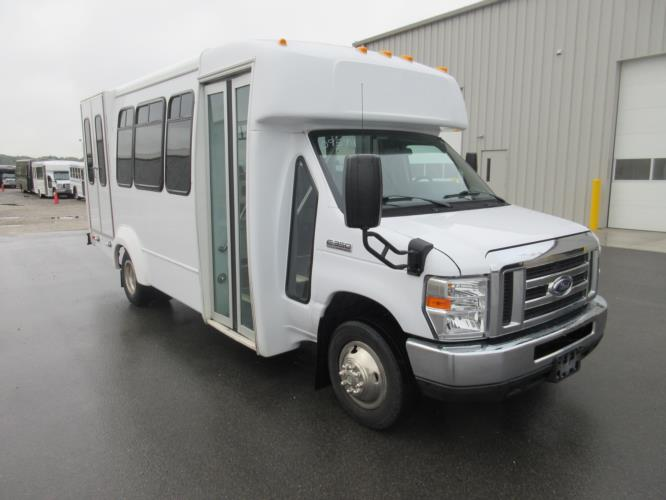 2017 Elkhart Coach Ford 12 Passenger and 2 Wheelchair Shuttle Bus Passenger side exterior front angle-U10420-1