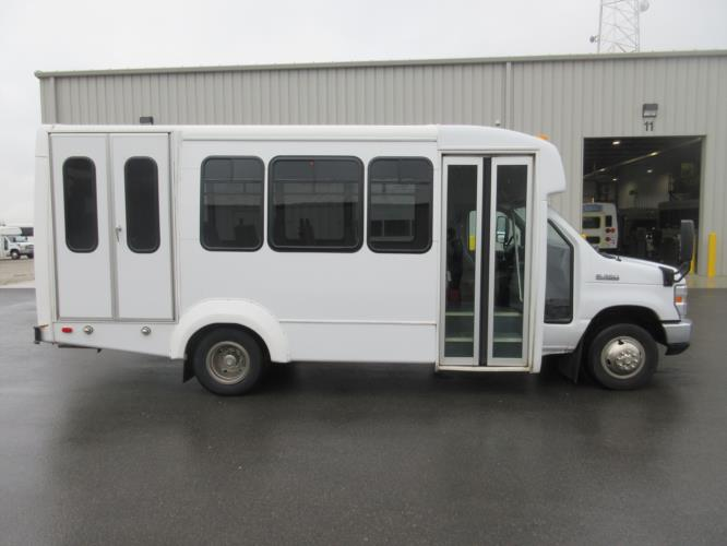 2017 Elkhart Coach Ford 12 Passenger and 2 Wheelchair Shuttle Bus Driver side exterior front angle-U10420-2