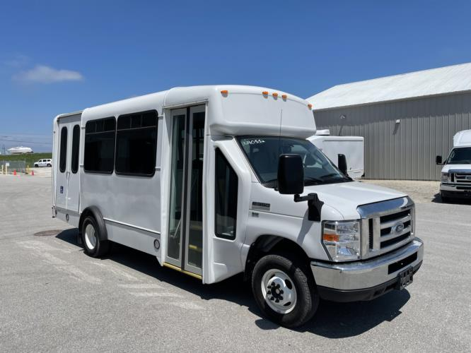2019 Champion Ford 6 Passenger and 3 Wheelchair Shuttle Bus Passenger side exterior front angle-U10547-1