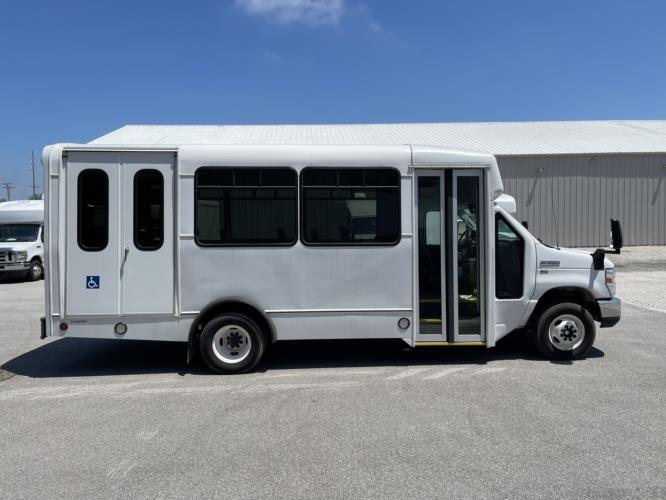 2019 Champion Ford 6 Passenger and 3 Wheelchair Shuttle Bus Driver side exterior front angle-U10551-2