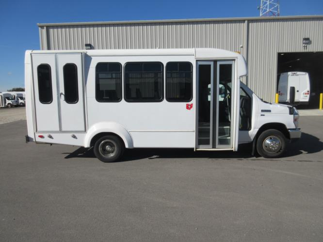 2016 Elkhart Coach Ford 12 Passenger and 2 Wheelchair Shuttle Bus Driver side exterior front angle-U10578-2